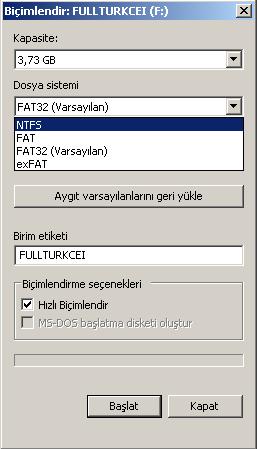 Fat32 formatı ntfs'ye çevirme 2