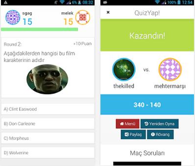 Android Online Bilgi Yarışması Uygulaması QuizYap