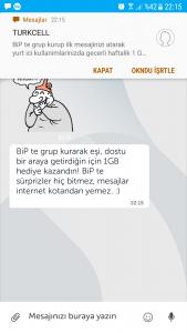 turkcell  bipde grup kurana 1gb bedava internet