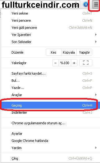 google chrome geçmiş sayfasına nasıl girilir
